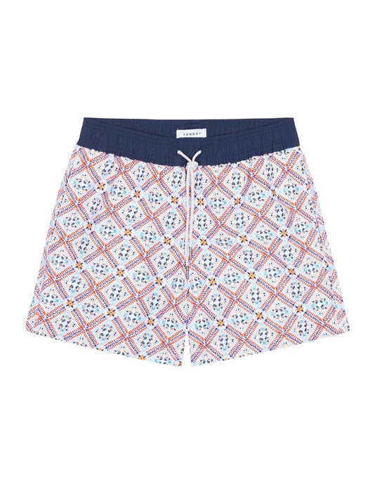 Swim Short - Light Blue & Orange Positano