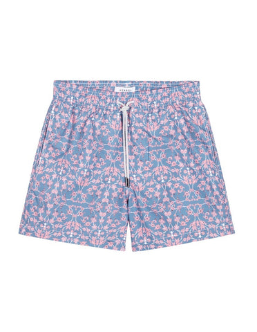 Swim Short - Grey & Orange Vine