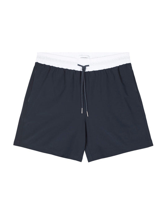 Swim Short - Navy / White Stretch