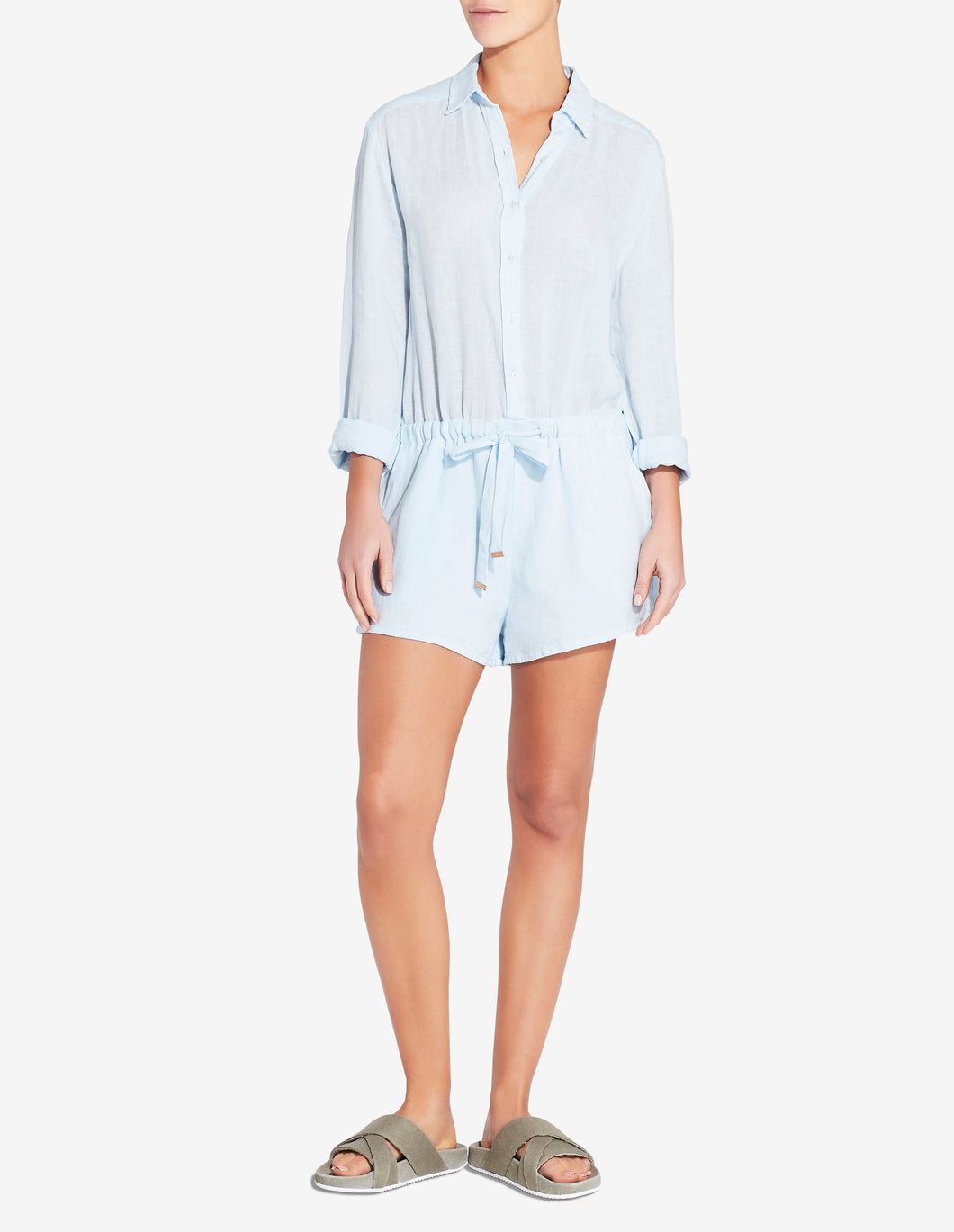 SLIM SHIRT PLAYSUIT - LIGHT BLUE