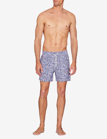 SWIM SHORT - NAVY / ORANGE INK BLOT