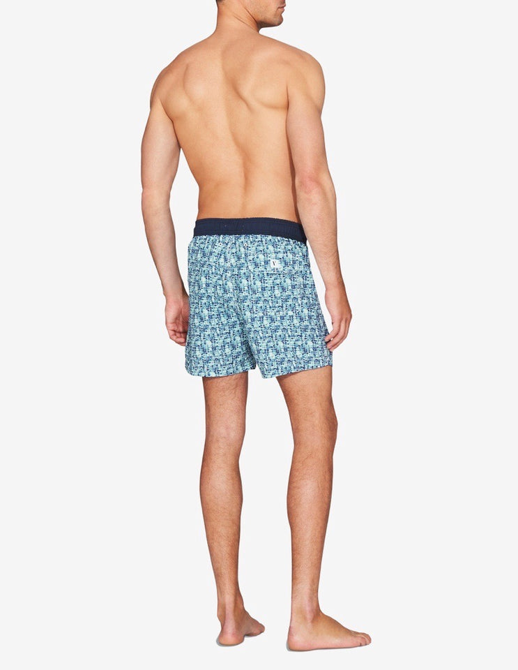 SWIM SHORT - OLIVE WATERCOLOUR GEO