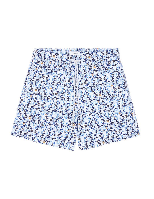 Swim Short - Blue / Yellow Geometric