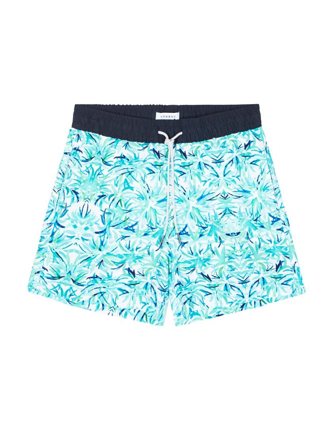Swim Short - White Band / Teal Brush