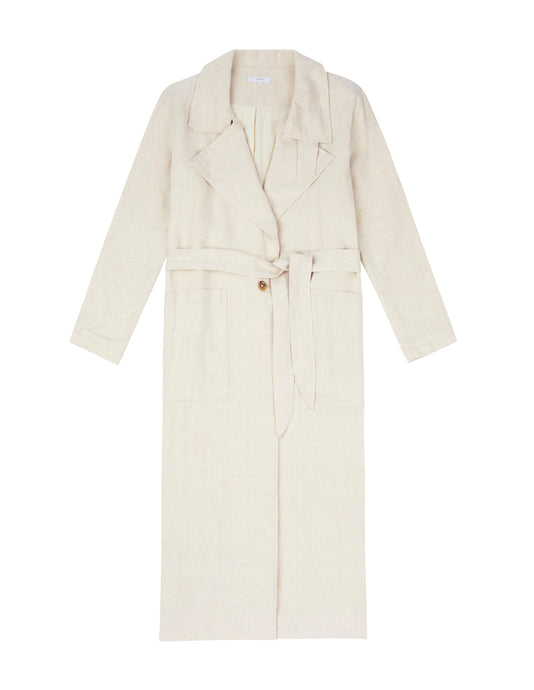 WOMENS LINEN TRENCH - SAND