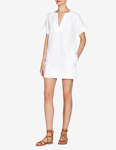 Womens Frayed Edge Mini Dress - White