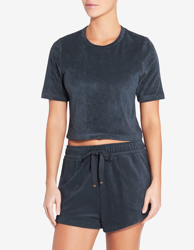 Womens Terry Towel Cropped T Shirt - Navy