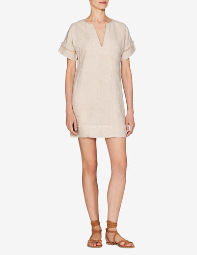Womens Frayed Edge Mini Dress - Sand