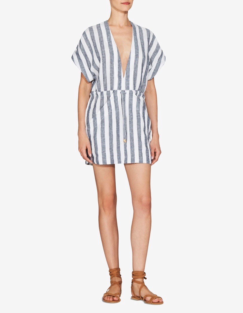 Womens Linen Robe Dress - Navy / White Stripe