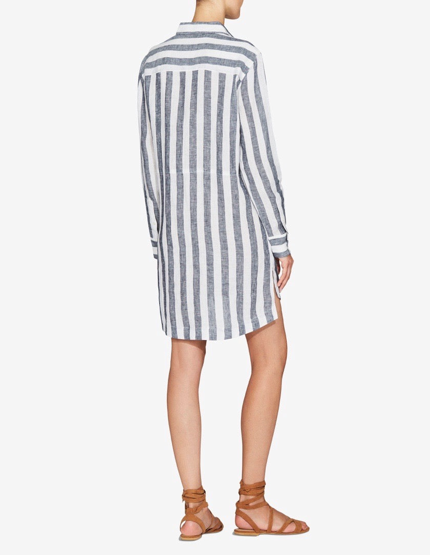 Womens Oversized Shirt Dress - Navy / White Stripe