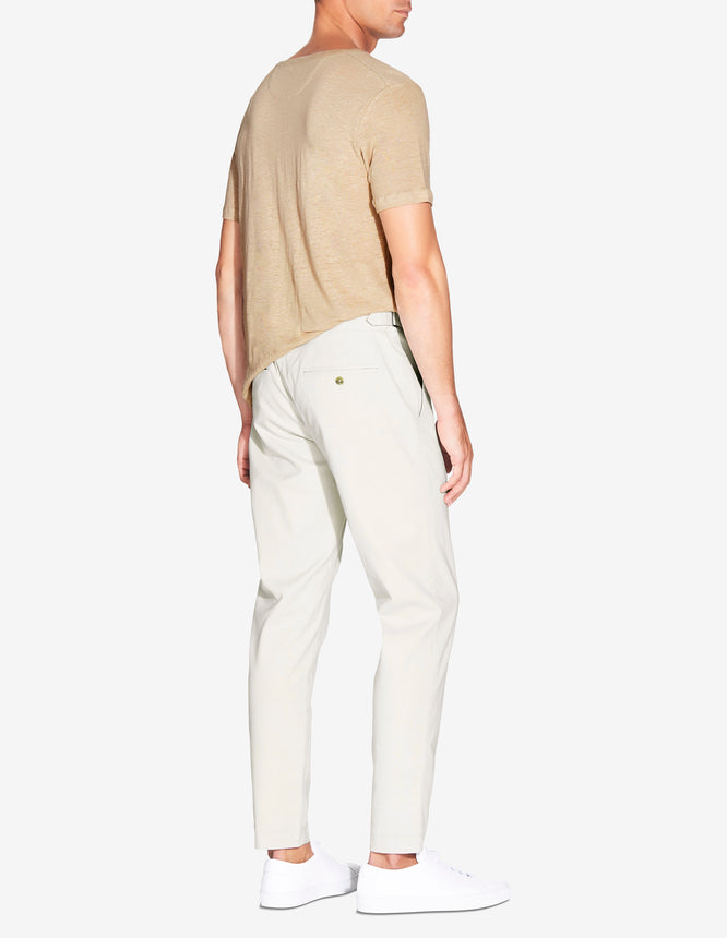 LINED SIDE TAB CHINO - LIGHT STONE