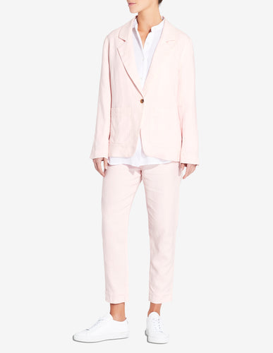 WOMENS LINEN BLAZER - LIGHT PINK