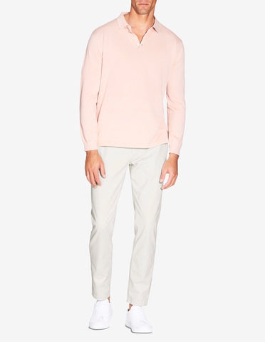 KNITTED LONG SLEEVE POLO - DUSTY PINK