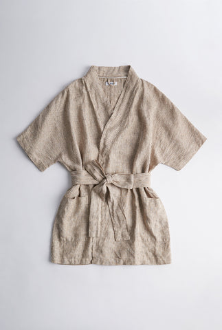 Short Linen Robe - Holiday Stripe