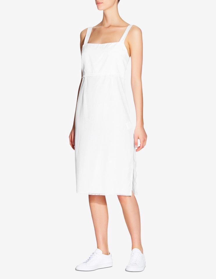 WOMENS TENCEL SIDE SPLIT DRESS - WHITE