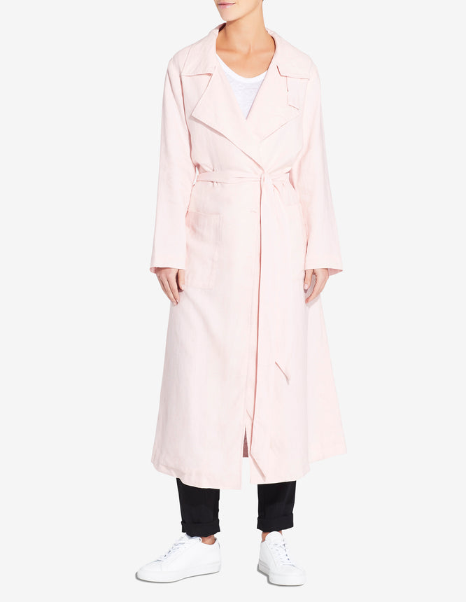 WOMENS LINEN TRENCH - LIGHT PINK