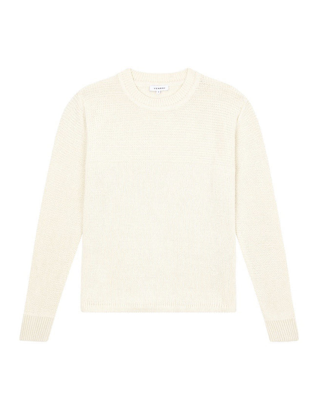 WAVE KNIT CASHMERE SWEATER - OFF WHITE