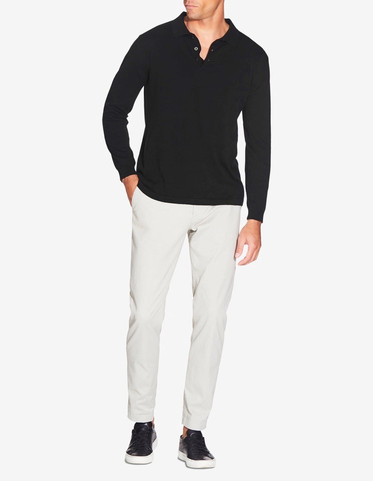 KNITTED LONG SLEEVE POLO - BLACK