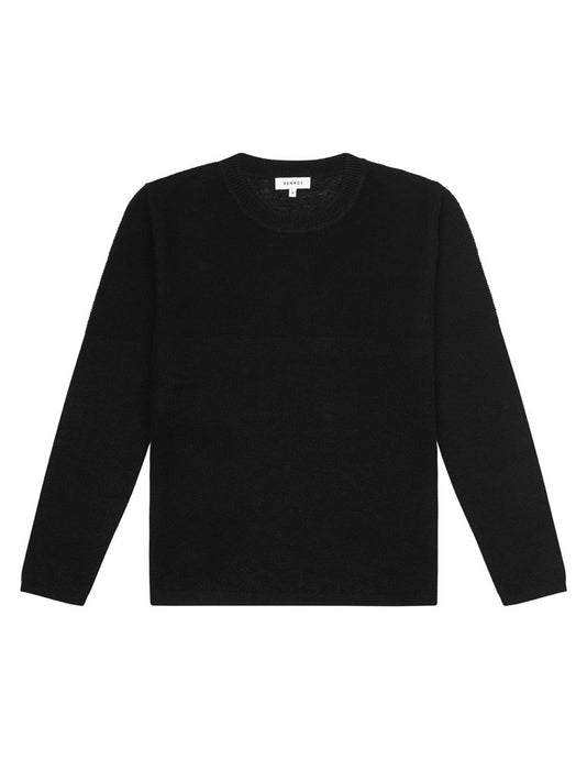 LIGHT WEIGHT LINEN SWEATER - BLACK