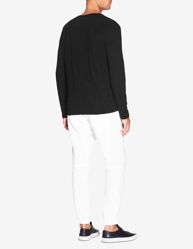 LINEN Long Sleeve LINEN T-SHIRT - BLACK