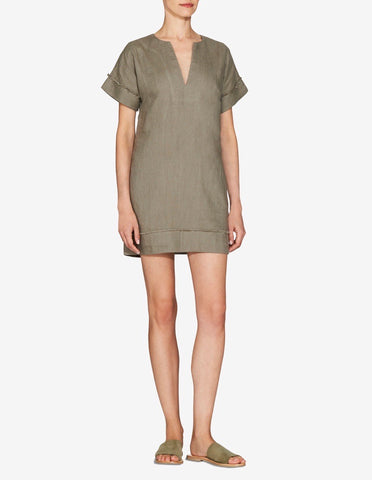 Womens Frayed Edge Mini Dress - Sage