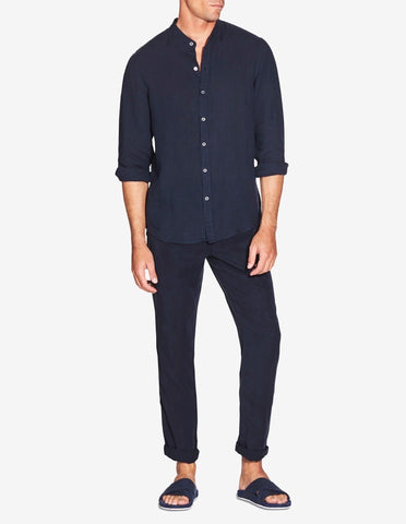 GRANDAD COLLAR SHIRT - NAVY