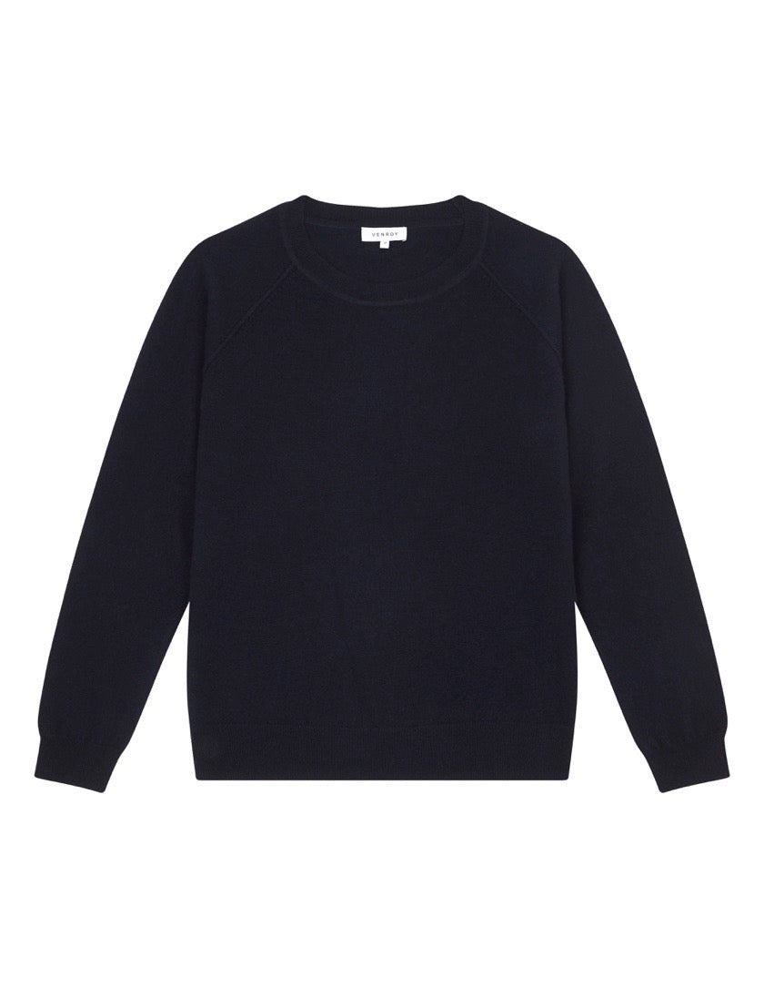 CASHMERE RAGLAN SWEATER - NAVY