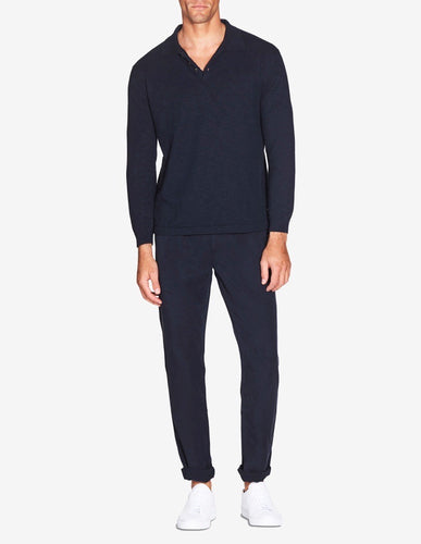 KNITTED LS LINEN POLO - NAVY