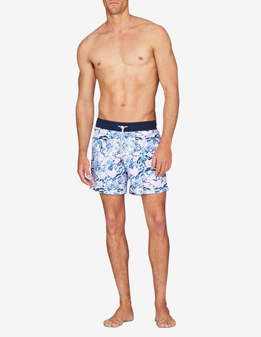 Swim Short - Pink, White & Navy Floral