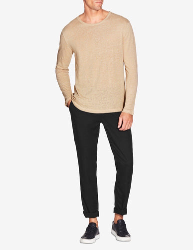 LINEN Long Sleeve T SHIRT - TAUPE