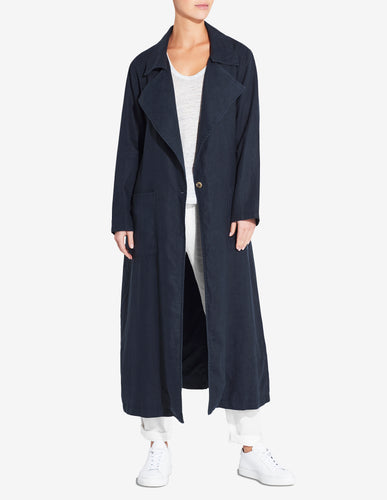 WOMENS LINEN TRENCH - NAVY