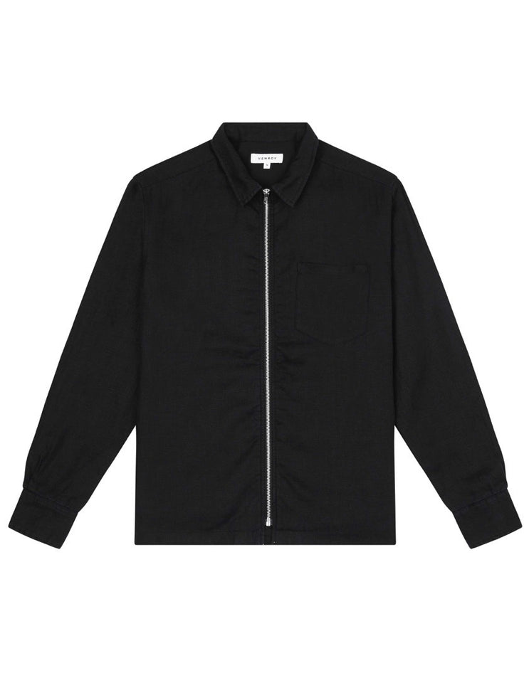 LINEN SHIRT JACKET - BLACK
