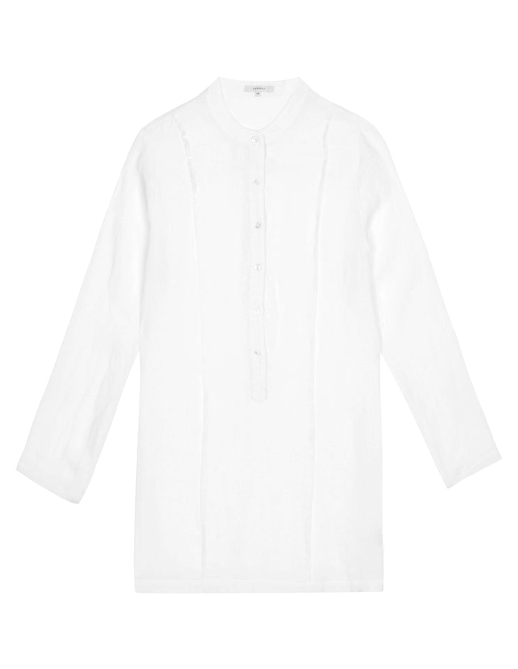 Womens PinTuck Shirt Dress - White