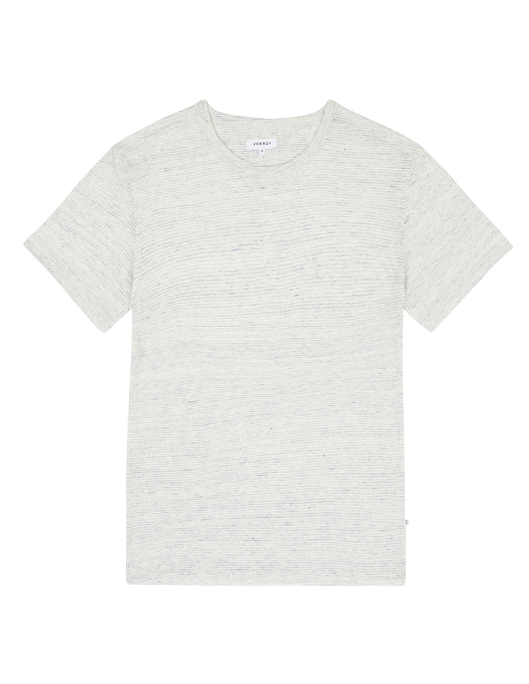LINEN T SHIRT - LIGHT BLUE STRIPE