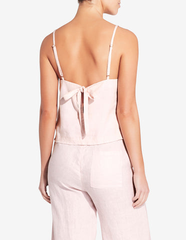 Womens Tie Back Singlet Top - Light Pink