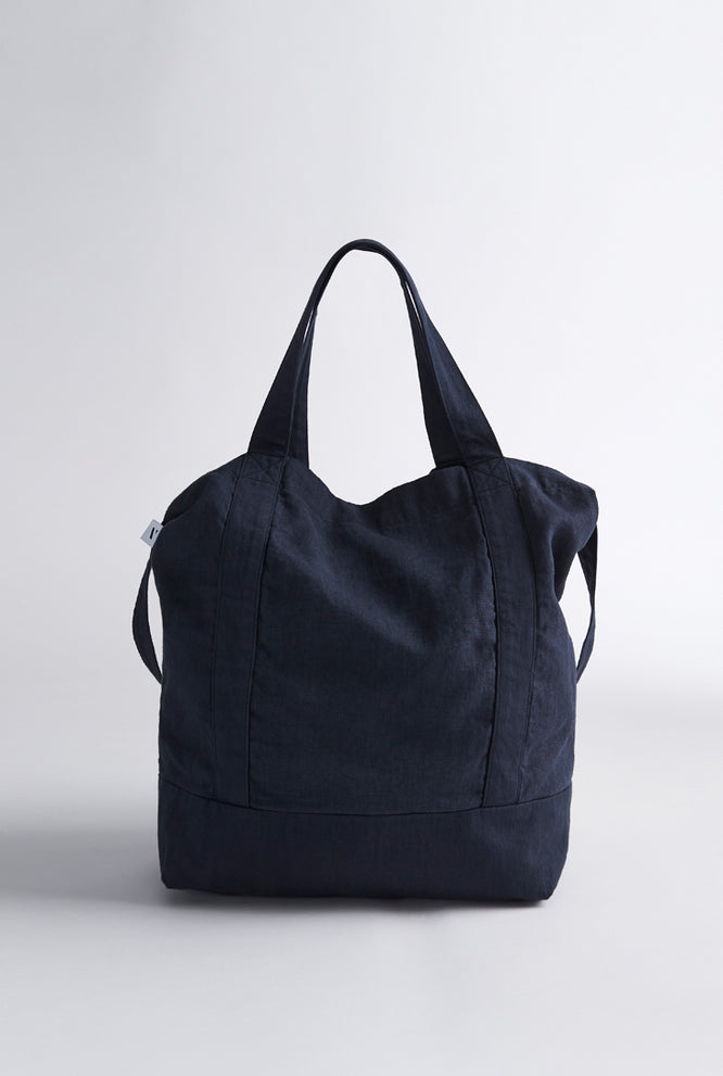 Linen Tote - Navy/Ivory