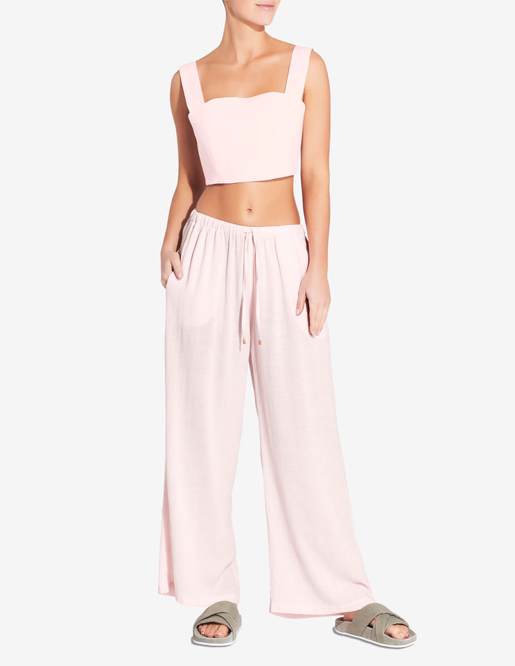 Womens Tie Back Cropped Singlet - Light Pink
