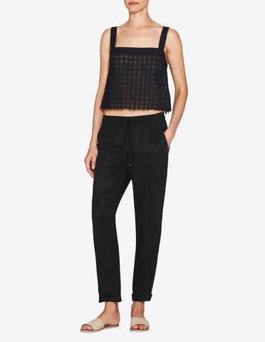 Womens Cropped Singlet Top - Black Checkered