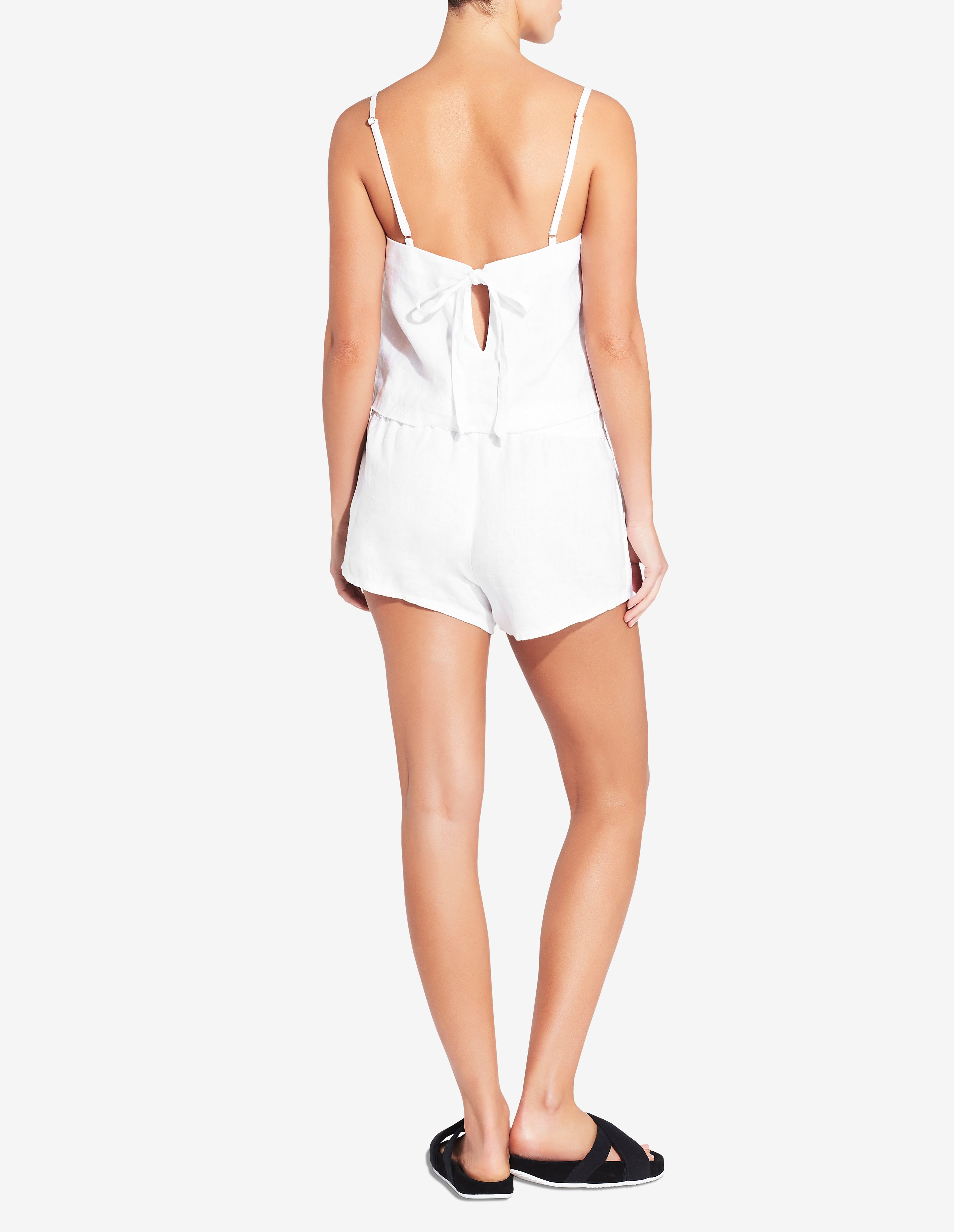 Womens Tie Back Singlet Top - White