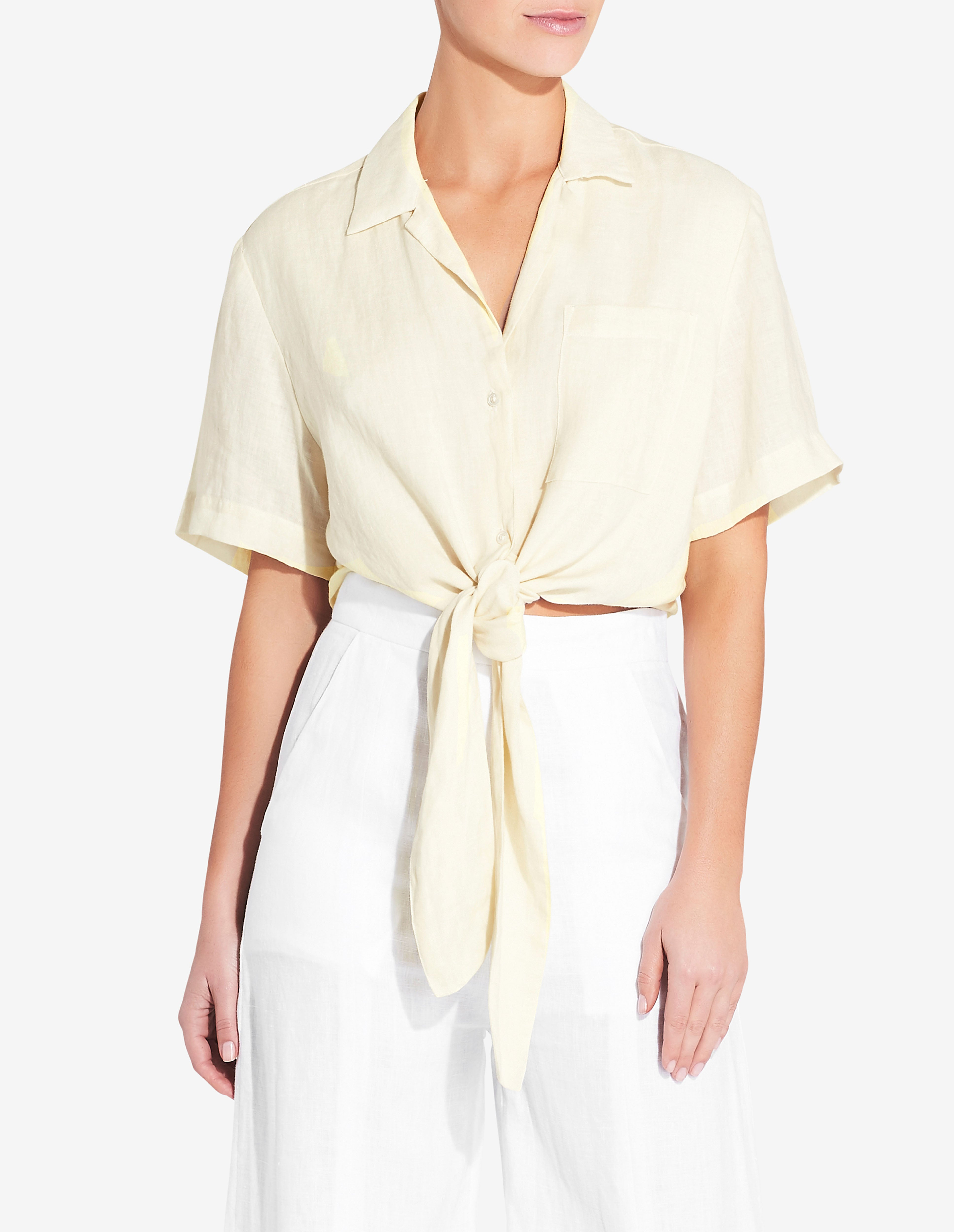 Womens Front Tie Shirt - Yellow