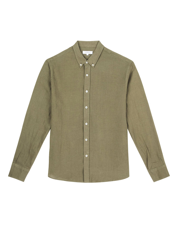 LINEN SHIRT - BOTTLE GREEN