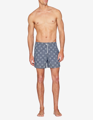 Swim Short - Navy & White Geometric