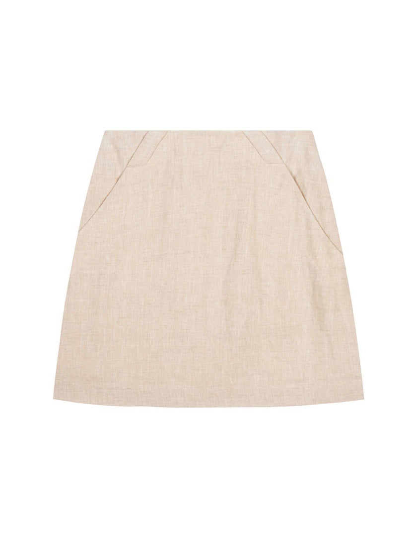 Womens High Waisted Skirt - Sand