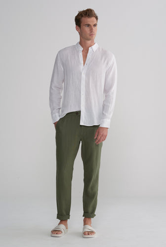 Side Tab Trouser - Bottle Green
