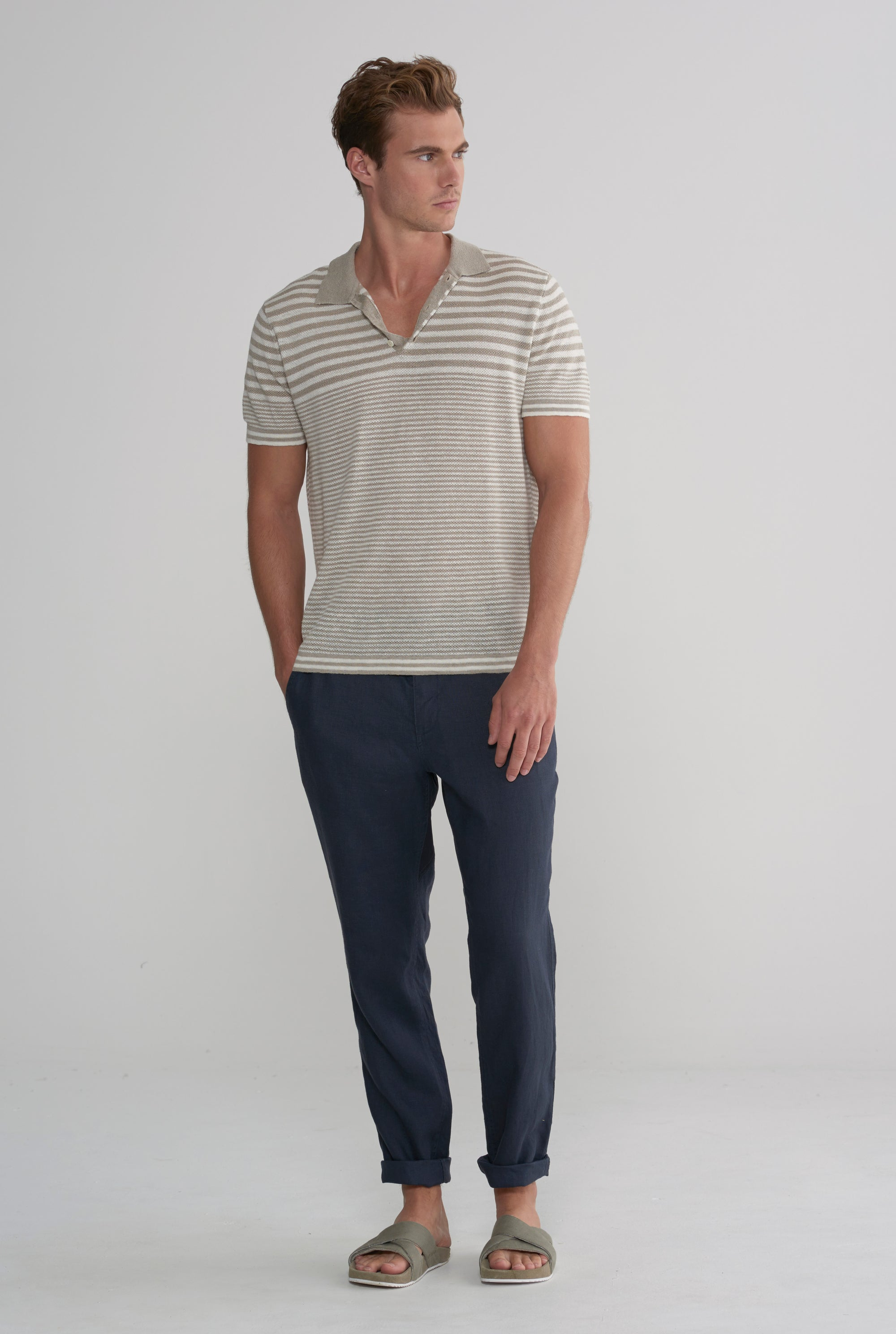 Knitted Polo - Taupe/Ivory Stripe