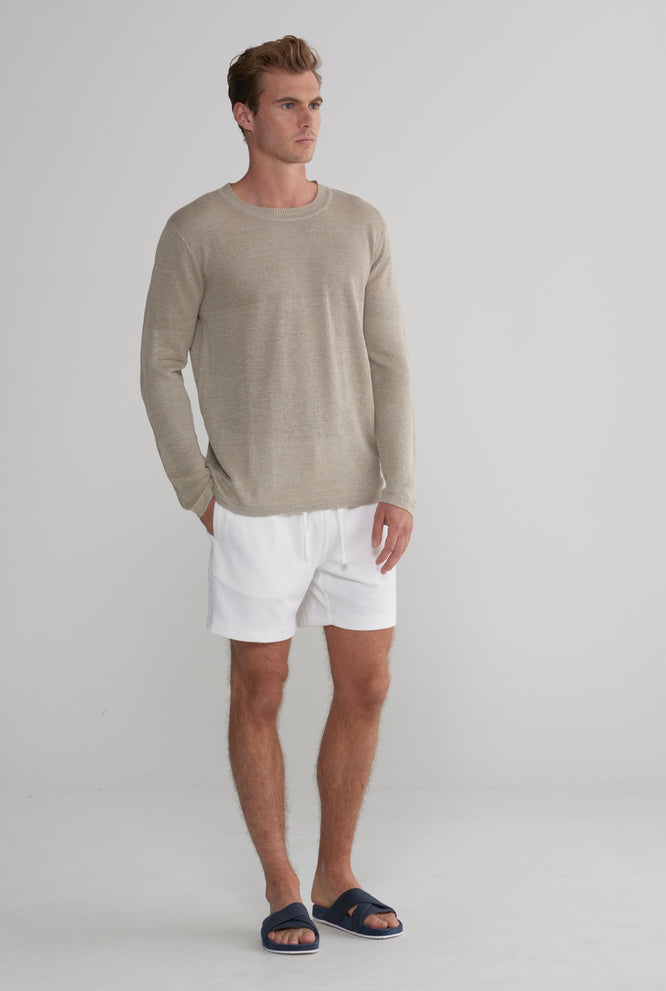 Light Weight Linen Sweater - Taupe