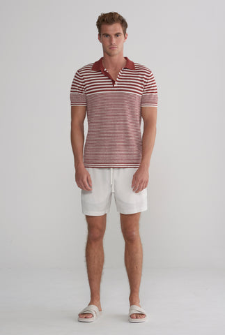 Knitted Polo - Rust/Ivory Stripe