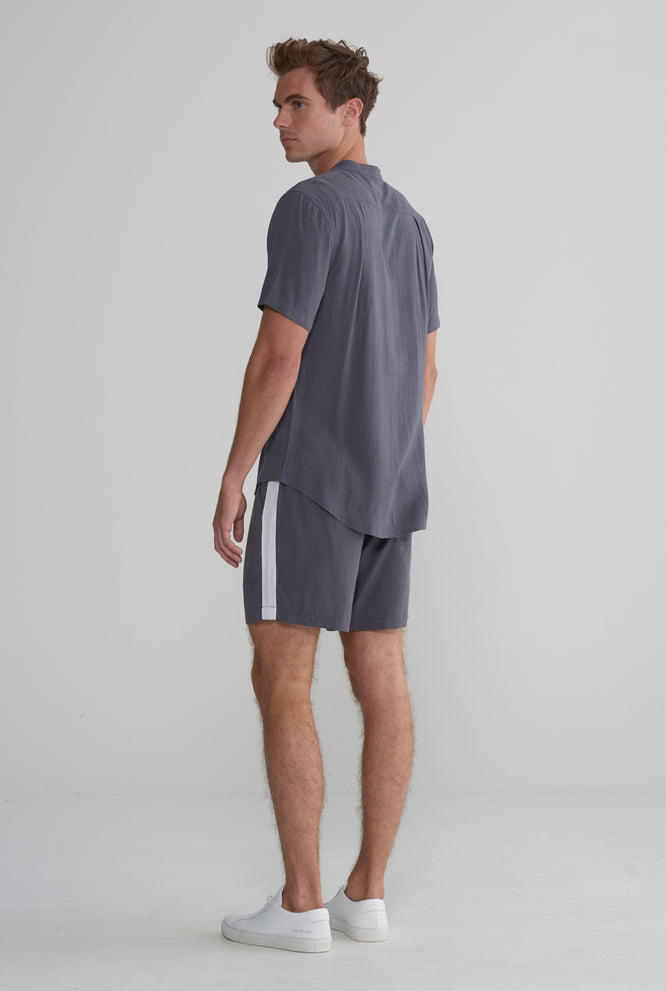Tencel Lounge Short - Smoke Grey / White Stripe