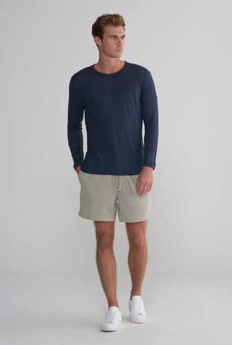 Linen Long Sleeve T-Shirt - Navy