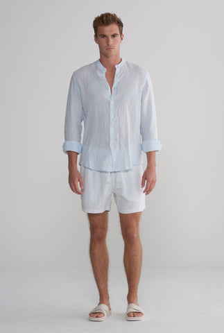 Grandad Collar Shirt - Light Blue